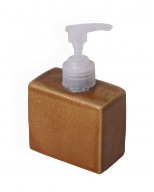 Klakriti Ceramic Counter Top Liquid Soap Dispenser in  Mustard color