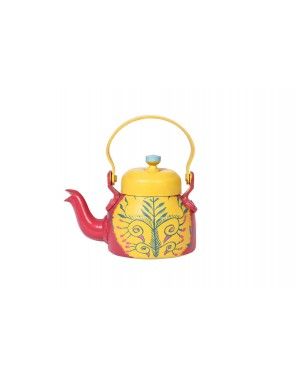 Kalakriti Tin Teapot, Large. Beautifully painted Pattachitra art on a tin teapot